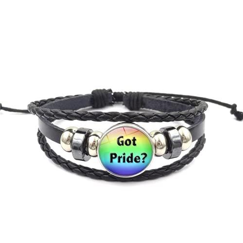 Rainbow LGBT Pride - Pulsera trenzada hecha a mano con tejido de piel sintética trenzado para gay y lesbianas LGBTQ mujeres hombres (XSW-12)