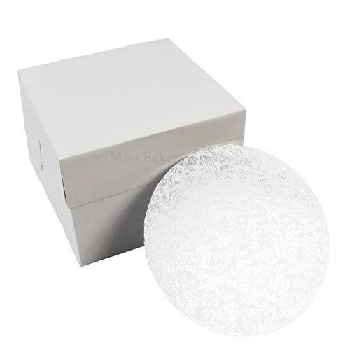 Miss Bakery's House® Cake Box mit MDF Board - 20x20x15 cm - Weiß - Tortenunterlage