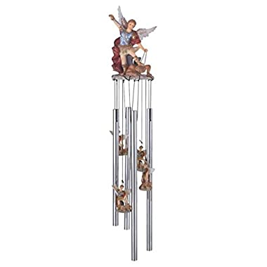StealStreet Ss-G-41704 Wind Chime Round Top Saint Michael The Archangel Religious Decoration