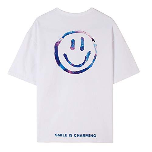 Marico Smiley Gesicht Gedruckt T-Shirt Herren Sommer Personalisiert Beiläufig Kurz Ärmel Unisex Besatzung Hals Baumwolle Tops Komfortabel Lose T Shirt,B,L
