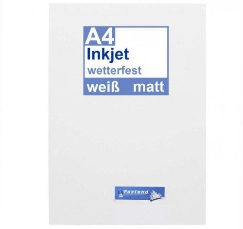 Inkjet Klebefolie 10 x DIN A4 weiß matt - Druckerfolie, klebend, zum bedrucken, Wetterfest, Wasserfest für Tinte, selbstklebende Inkjet Folie Outdoor