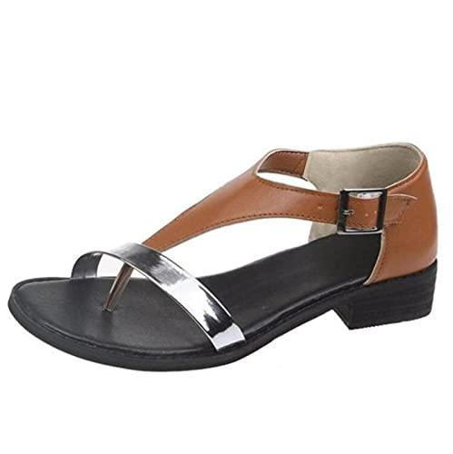 Sandalias de Gladiador Planas Bajas para Mujer, Sandalias de Roma con Correa en T de PU, Cubierta, Hebilla de tacón, Correa, Zapatos Bohemios de Colores Mezclados concisos, marrón