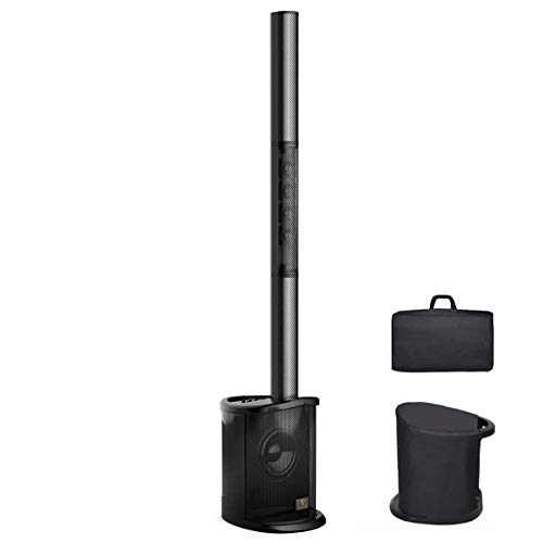 AKUSTIK Portable Line Array Column Speaker w/LED Lights, 8 Inch Active Subwoofer & 4 Tweeters, Powered DJ/PA Speaker System with Remote Control, 4-Channel Mixer, Carry Bag, Bluetooth/USB/SD