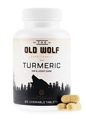 Turmeric Curcumin Joint Supplement for Dogs: Pain Relief & Anti Inflammatory Support with Glucosamine  Chondroitin Porcine  MSM  Hyaluronic Acid  Piperine & Turmeric Root Blend - 60 Chewable Tablets