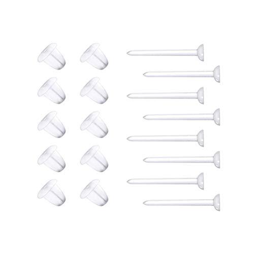 Toyvian Orecchini di plastica Messaggi Ear Pin Trasparente e Gomma di Silicone Backs Orecchini Blank Stud Tiny Head Risultati Forniture Fai da Te (100 Pezzi)
