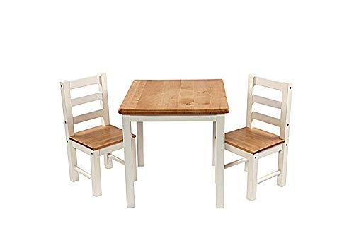 Hti Line Kindertischgruppe Annika Tisch Stuhl Kindermöbel Kinderstuhl Kindersitzgruppe Mit Kindertisch Und 2 Stühlen Holz Weiß Natur