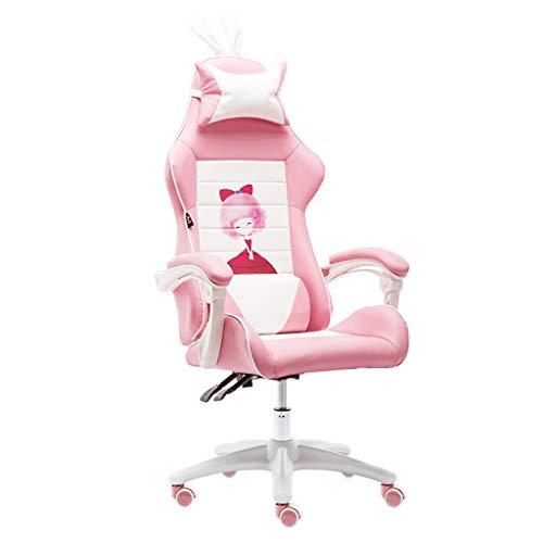Sillas Muebles Oficina Color Rosa nina Adulto Juego Ordenador Empresa Personal ergonomica de Oficina, Cuero con Orejas pequenas Escritorio