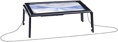AGT Lupe: XXL-Leselupe mit 3-facher Vergrößerung, 4 LEDs und Klappständer (Große Lupe)