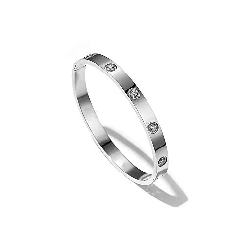 XYZONE Bangle Bracelet Oval with Stone Stainless Steel Hinged Love Jewelry with Crystal Bracelets Present for Women Teen Girls (Silver, 17)