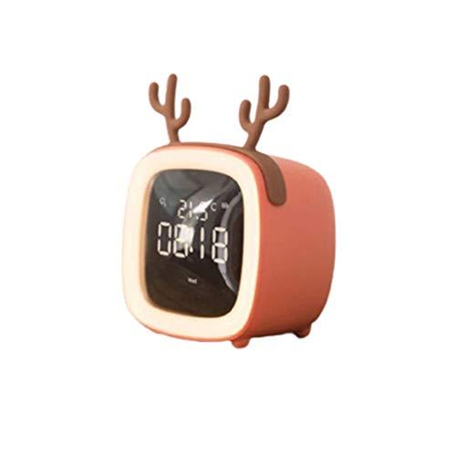 Temperatura de la noche de la luz del reloj despertador de la tabla de sincronización de la forma de TV digital brillo ajustable función inteligente niños lindos mini fácil de configurar