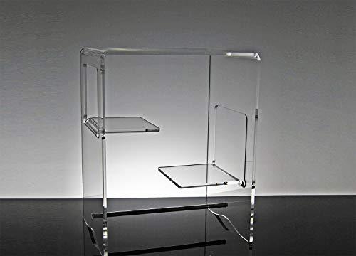 Slato Comodino da Notte dal Design Moderno a Tre Ripiani in plexiglass Trasparente Euridice