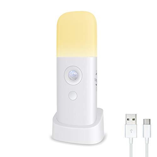 ZOESON Kabellose Nachtlicht mit Bewegungsmelder, Wiederaufladbar 2000mah USB Akku, für Schrank, Kleiderschrank, Küche, Treppe, Schlafzimmer (1-PACK)