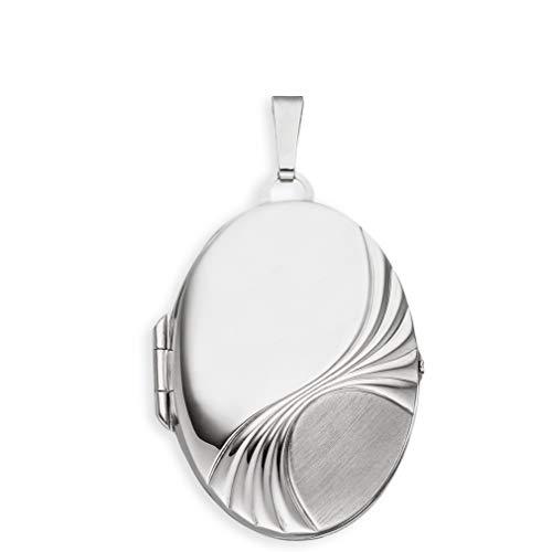 Medaillon XXL teilmattiert mattiert verziert oval 925 Sterling Silber mattiert zum öffnen für Bildereinlage 2 Fotos Amulett Verzierung - Randverzierung von Haus der Herzen® mit Schmuck-Etui