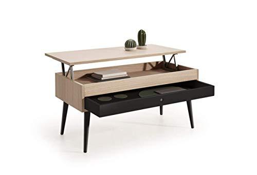 HOGAR24 ES Mesa de Centro Elevable con cajón Deslizante diseño Vintage, Madera Roble Natural Chapado, Color Roble-Negro. Medidas: 100 x 50 x 47 cm.