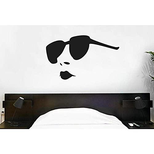 Etiqueta De La Pared Gafas De Sol Mujer Etiqueta De La Pared Labios Vinilo Pegatinas De Pared Niñas Dormitorio Patrón Extraíble Interior Arte Mural 57X35 Cm