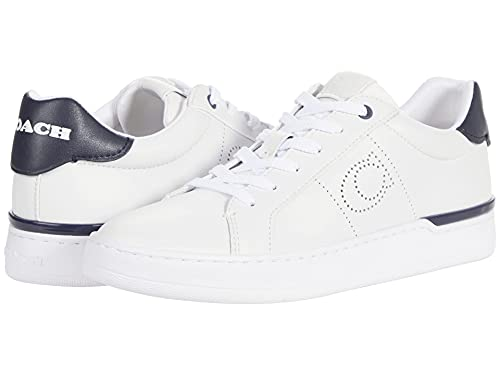 COACH Lowline Low Top Optic White/Midnight Navy Smooth Leather 8 M