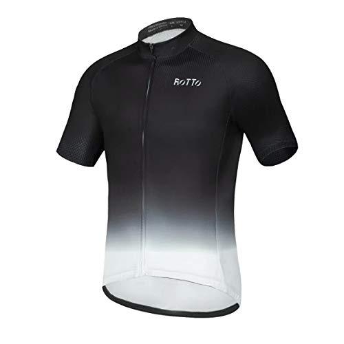 ROTTO Radtrikot Herren MTB Rennrad Trikot Kurzarm Fahrradbekleidung (A Schwarz-Weiß, XL)