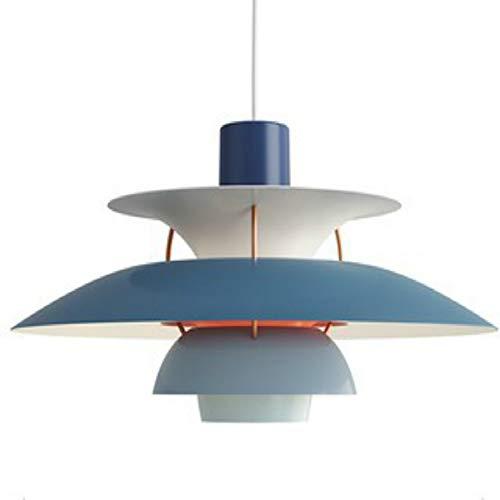 Nordic Moderne PH5 Pendelleuchte Einfache E27 Farbige Kronleuchter Metall Regenschirme hängende Lampen Küchen Zubehör Restaurant-Dekoration-Beleuchtung Pendelleuchte ? 11,8 Zoll (Blau)
