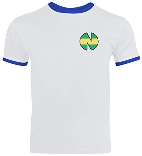 Tsubasa FC Nankatsu Trikot Kostüm Herren Ringer T-Shirt Karneval & Fasching Coole Verkleidung Weiß/Blau // L