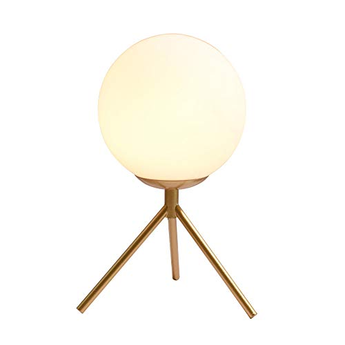 Mengjay lámpara de mesa e27 lámpara de mesa metal - lámpara de mesa vintage - lámpara de mesa retro para salón y dormitorio / lámpara de noche de diseño industrial pantalla blanca lechosa. (Dorado)