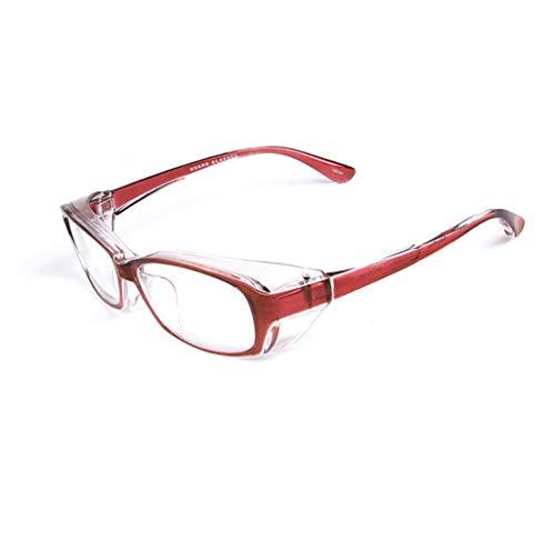 ZXCP 花粉メガネ 目立たない 花粉防塵 メガネ スタイル 丸洗い可能 曇らない おしゃれ な 眼鏡 花粉症対策 防止 (赤)