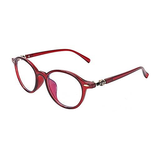 Reading glasses Gafas de Lectura Gafas de Lectura Anti-BLU-Ray Retro Literario Liter Literario Gafas HD Lecturas de Lectura Marco Redondo Lectura de vidrios (Color : Red, Size : 300 Degrees)