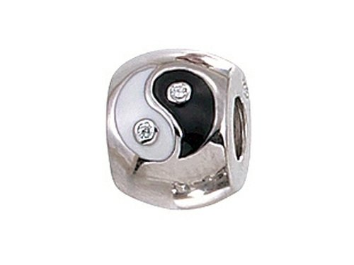 Zable Sterling Silver Enameled Yin/Yang Bead with CZ Bead/Charm
