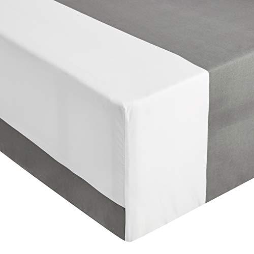 Amazon Basics - Sábana ajustable de microfibra premium (135 x 190 cm), franja gris gabana