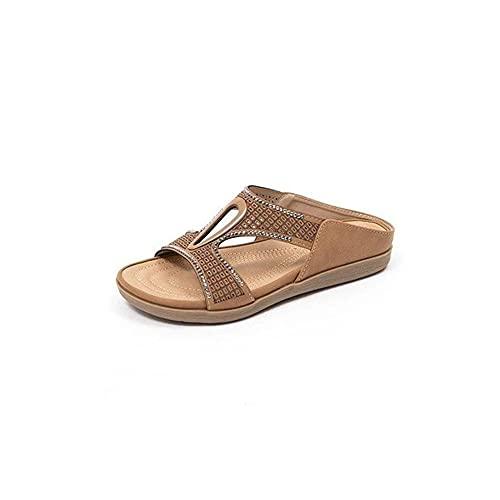WORLDFYF Premium Orthotic Rome Retro Beach Sandals,Arch Support Reduces Pain Comfy Woman Sandals (39,Khaki)