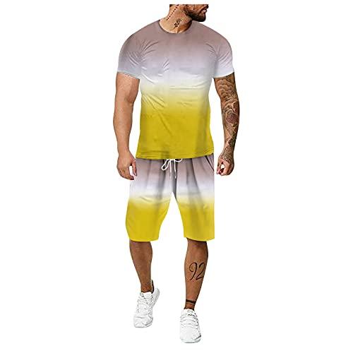 Trainingsanzug-Herren Jogginganzug Kinder Jungen Sportanzug Kinder Jungen Freizeitanzug Herren Baumwolle Jogginghose Weiß (Yellow3,XXL)