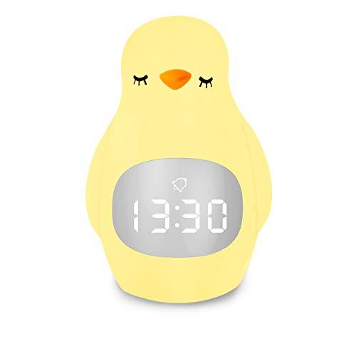 Licht Wecker, Kinderwecker 2 in 1 Cute Pinguin Kinder Wecker Creative Nachttischlampe Snooze-Funktion, Nachtlicht, Kindertagesgeschenk für Kinder, Mädchen