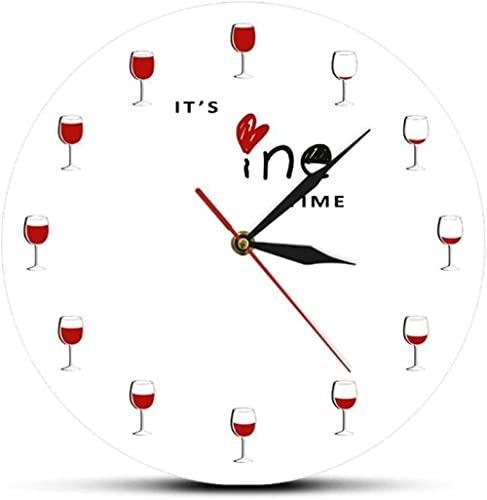 It s Wine Time Reloj de pared Alcohol Copa de vino tinto decorativo reloj licor reloj restaurante vino bebedor amante regalo 30x30cm
