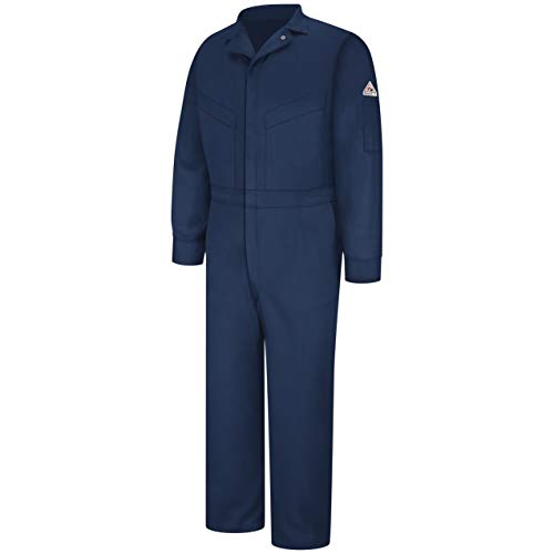Bulwark Flame Resistant 6 oz Cotton/Nylon Excel FR ComforTouch Regular Deluxe Coverall with Concealed Snap On Cuff, Navy, Size 46