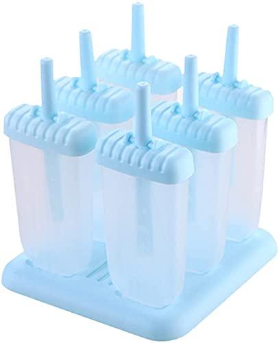Eisformen, 6-er Set Eisförmchen Popsicle Formen, EIS am Stiel Bereiter, Stieleisformer LFGB Geprüft und BPA Frei Perfekt für Kinder und Erwachsene