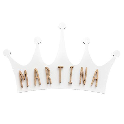 VINTIUN Placa Forma De Corona Blanca Con Kit De Letras Pegatinas de pared
