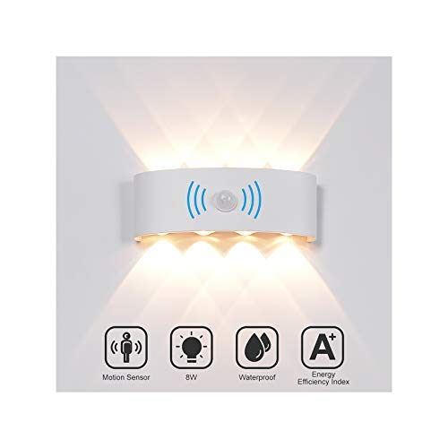 INHDBOX 8W Wandleuchte Wandlampe mit Bewegungsmelder, LED Aussen Wandleuchte Wasserdichte IP65 Wandbeleuchtung Modern Up Down Aussenleuchte Aluminium Außenwandleuchten Wandlampe Innen/Aussen Warmweiß