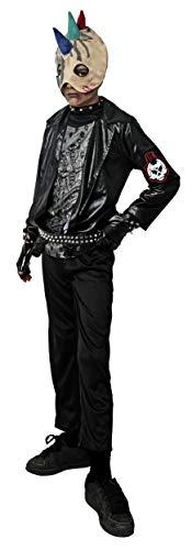 Gojoy shop- Disfraz de Rockero Zombi para Niños Halloween (Contiene Chaqueta con Camiseta, Guantes y Capucha con Pinchos, 4 Tallas Diferentes) (7-9 años)