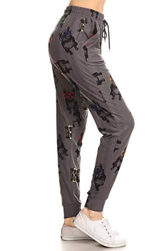 Leggings Depot JGA-R718-L Hipster Frenchie Print Jogger Pants w/Pockets, Large