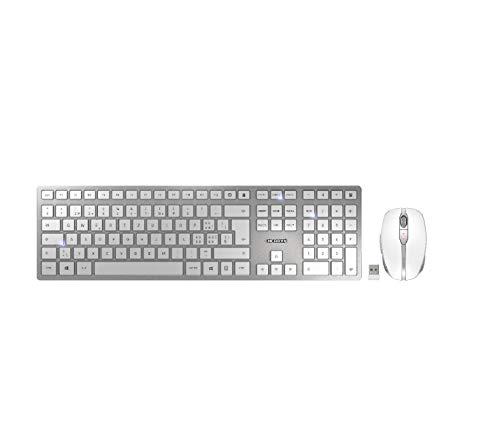 Cherry DW 9000 Teclado Bluetooth Slim, Juego de Mouse, Teclas Multimedia alemán, QWERTZ, Windows Silver White