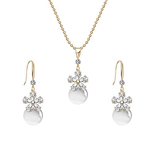Aabellay Juego de 3 pendientes colgantes con piedras preciosas simuladas para dama de honor y diamantes de imitación de cristal floral para mujeres y niñas, color dorado