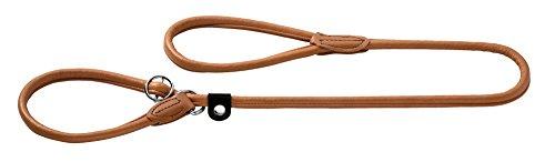 HUNTER Round und Soft Elk Retrieverleine für Hunde, Leder, weich, rund, fellschonend, 1,0/120 cm, cognac