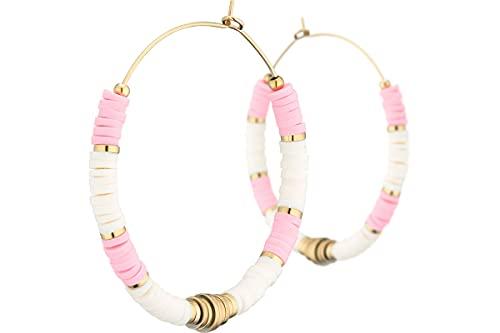 Ikita - Pendientes de aro metálicos de oro rosa, diámetro 45 mm