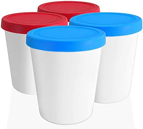 LIN Ice Cream Storage Tubs with Lids 4 Pack 1 Quart Round Reusable BPA Free Freezer Containers product image