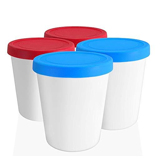 LIN Aufbewahrungsbehälter für Speiseeis mit Deckel 4 Stück - 1L runde wiederverwendbare BPA-frei Eisbehälter für Gefrierschrank für hausgemacht Eis, Sorbet, frozen Joghurt und allgemeine Lebensmittel