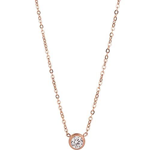 NC520 Mini Collar de Acero de Titanio de un Solo Diamante, joyería de Moda para Mujer, Accesorios Colgantes, Cadena de clavícula de 18 K