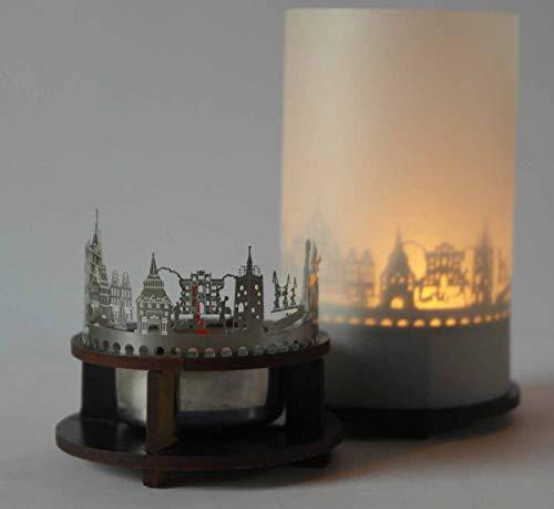 13gramm Rostock-Skyline Windlicht Schattenspiel Premium Geschenk-Box Souvenir, inkl. Kerzenhalter, Kerze, Projektionsschirm und Teelicht