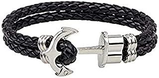 Boat anchor Braided Leather men Bracelet (Black)