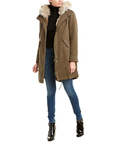 Yves Salomon Womens Army Lined Rabbit Fur Parka, 48
