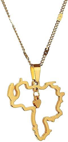 WYDSFWL Collar Mujer Hombre Moda Acero Inoxidable Trendy Venezuela Card Colgante Collar Tarjeta venezolana Corazón Charm Jewelry