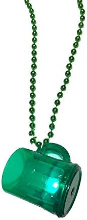 St Patrick s Day Traveling Shot Glass Beer Mug LED Necklace Flashing LED Green Light Up Beer product image